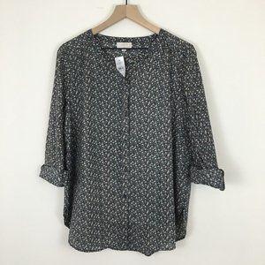 NWT LOFT Petite Black Floral Button Down Shirt LP